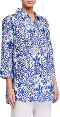 Caroline Rose Plus Size Greek Island Printed Linen Easy Button-Front Shirt