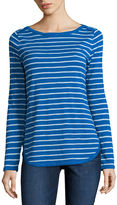 Liz Claiborne Long Sleeve Boat Neck T-Shirt-Womens
