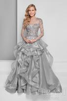 Terani Evening - Sheer Illusion Long Sleeve Ruffled Organza Skirt Ballgown