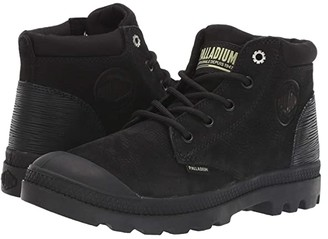 Palladium Pampa Lo Cuff Leather (Black/Green Sheen) Women's Boots