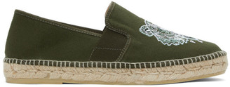 Kenzo Khaki Canvas Tiger Head Espadrilles