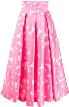Sara Battaglia Floral Print Belted Skirt