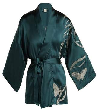 Morpho + Luna Bella Foliage Embroidered Satin Kimono Style Robe - Womens - Dark Green