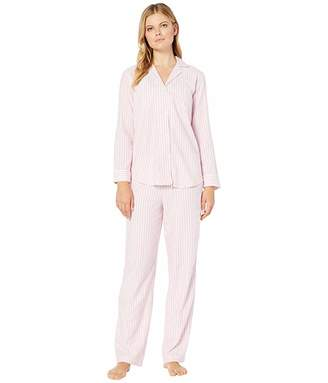 Lauren Ralph Lauren Brushed Herringbone Pointed Notch Collar Long Pants PJ Set