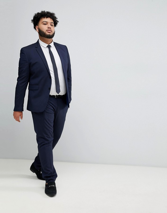 Thumbnail for your product : Burton Menswear Big & Tall skinny suit jacket in navy