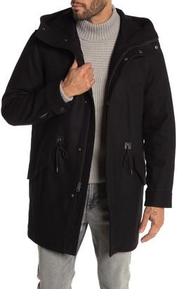 Cole Haan Wool Blend Drawstring Waist Hooded Jacket
