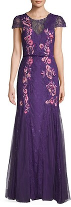 Marchesa Lace Embroidery Cap-Sleeve Gown