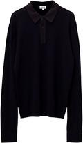Jigsaw Contrast Collar Long Sleeve Merino Polo Shirt, Navy