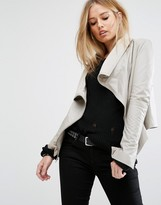 Muu Baa Muubaa Asymmetric Funnel Neck Leather Jacket
