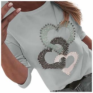Jiegorge Women's Tops Women Fashion Heart Print Nail The Beads O-Neck Long Sleeves Loose Tops Blouse