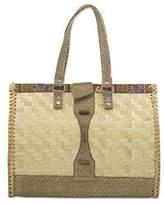 Rattan, Leather, Cotton Handbag Handmade in Ghana, 'Dream Weaver'