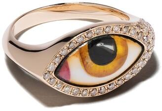 Lito 14kt rose gold Petit Jaune Chevalier enamel eye and diamond ring