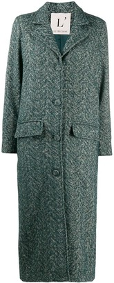 L'Autre Chose Cross-Hatch Textured Longline Coat