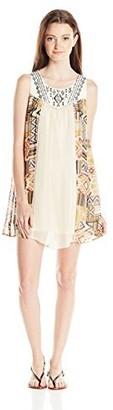 Jolt Women's Twin Print Chiffon Dress with Embroidery