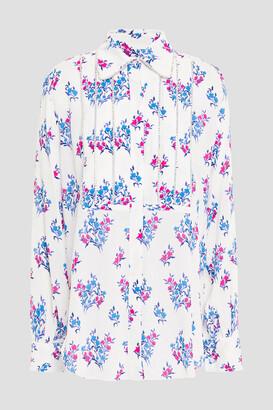 Area Crystal-embellished Floral-print Stretch-crepe Shirt