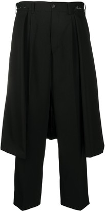 Comme des Garçons Comme des Garçons Skirt-Overlay Cropped Trousers