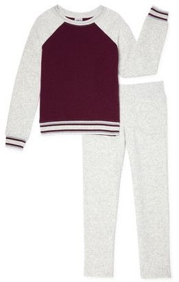 Athletic Works Girls 4-18 & Plus Core Fleece Colorblock Sweatshirt and Sweatpants, 2-Piece Set