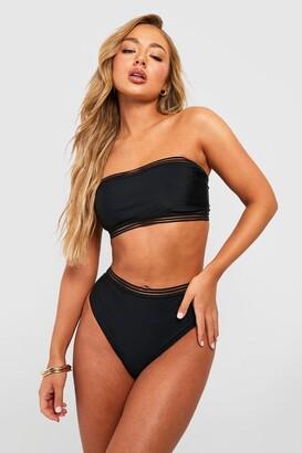 boohoo Cape Verde Mesh Detail Bandeau High Waisted Bikini