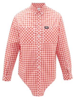 Burberry Elongated-hem Cotton-gingham Shirt - Red