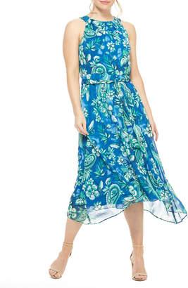 London Times Pleat-Neck Dress with Asymm Hem