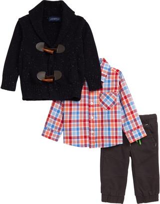Andy & Evan Toggle Knit Cardigan, Plaid Shirt & Pants Set