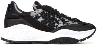 Jimmy Choo Raine Logo-detailed Leather, Suede And Corded Lace Sneakers