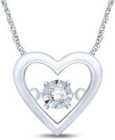 FINE JEWELRY Love in Motion Diamond-Accent 10K White Gold Heart Pendant Necklace