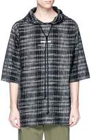 Song For The Mute 'Wander' print check plaid quarter sleeve hoodie