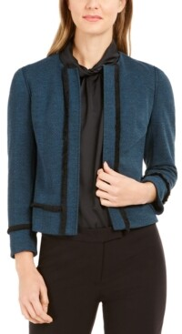 Anne Klein Fringed-Trim Herringbone Jacket