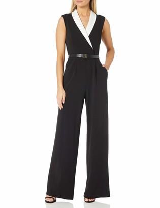 Calvin Klein Women's Jumpsuit with Contrast V-Neck Collar