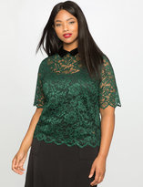 ELOQUII Plus Size Lace Collared Top
