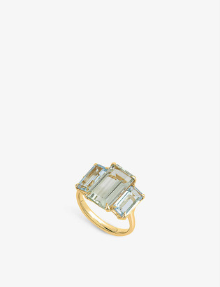 THE ALKEMISTRY Dinny Hall Suffragette Trinny Trilogy 22ct yellow gold-plated vermeil, green amethyst and sky blue topaz ring