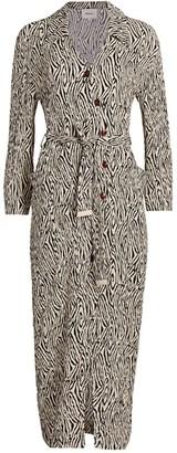 Nanushka Capri Zebra-Print Long Shirtdress