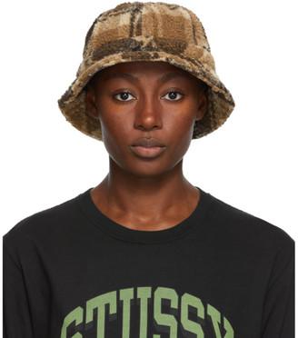 Stussy Brown Sherpa Fleece Bucket Hat