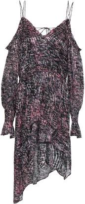 IRO Eloma Cold-shoulder Asymmetric Printed Devore-chiffon Mini Dress