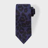 Paul Smith Men's Navy 'Leopard' Print Narrow Silk Tie