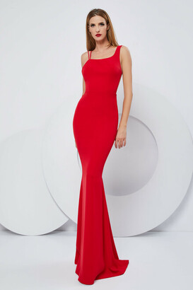 Cristallini Sleeveless Stretch Crepe Trumpet Gown