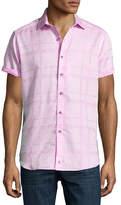Robert Graham Morley Short-Sleeve Jacquard Sport Shirt