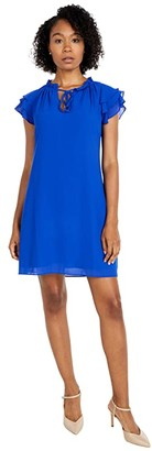 Vince Camuto Chiffon Tie Front Float with Short Ruffle Sleeve (Cobalt) Women's Dress