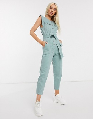 NA-KD structured denim jumpsuit in dusty green