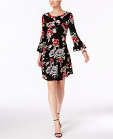 Connected Printed Bell-Sleeve Drop-Waist Dress, Regular and Petite Sizes