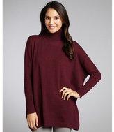 Autumn Cashmere bordeaux cashmere ribbed slouched dolman turtleneck sweater
