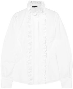 ALEXACHUNG Frida Ruffled Cotton-seersucker Blouse