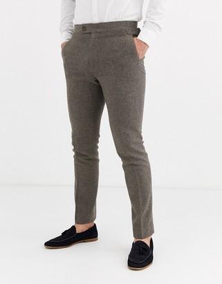 Asos Design DESIGN wedding skinny suit trousers in wool mix herringbone in brown