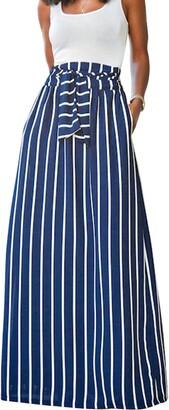 LA HAUTE Women's Belted Flowy Maxi Skirt Vertical Striped Long Skirts Elastic Waisted Full Length Skirt with Pocket (Blue UK 12-14)