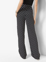 Michael Kors Dot-Print Pleated Wide-Leg Trousers