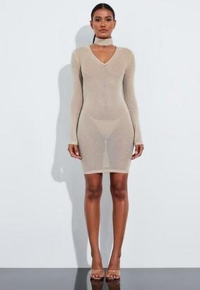 Missguided Beige Embellished V Neck Mini Dress