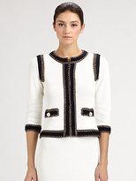 St. John Crochet-Trimmed Tweed Jacket