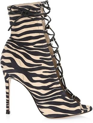 Gianvito Rossi Lenoir Lace-Up Zebra-Stripe Leather Peep-Toe Booties