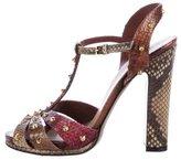 Gucci Snakeskin Embellished T-Strap Sandals